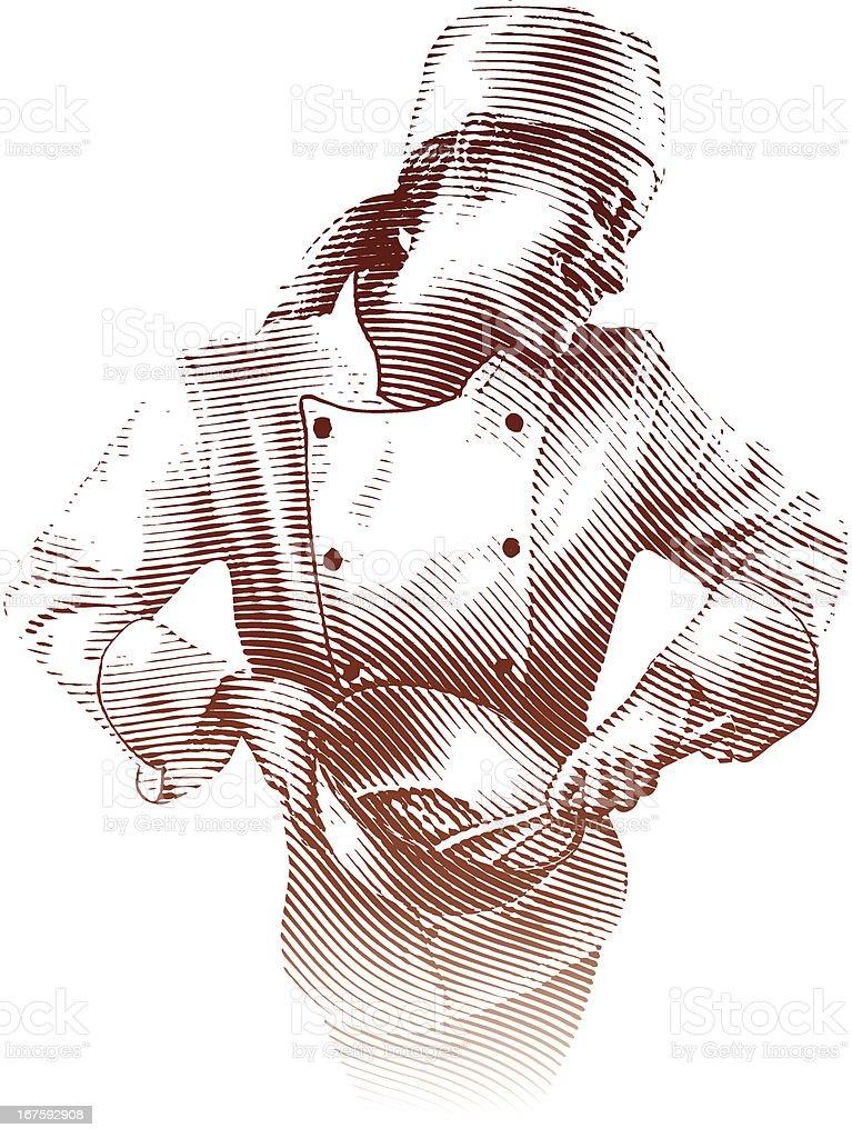 Happy Chef Cooking vector art illustration