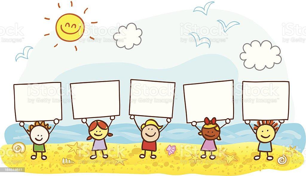 happy children friends holding banner at summer beach cartoon illustration vector art illustration