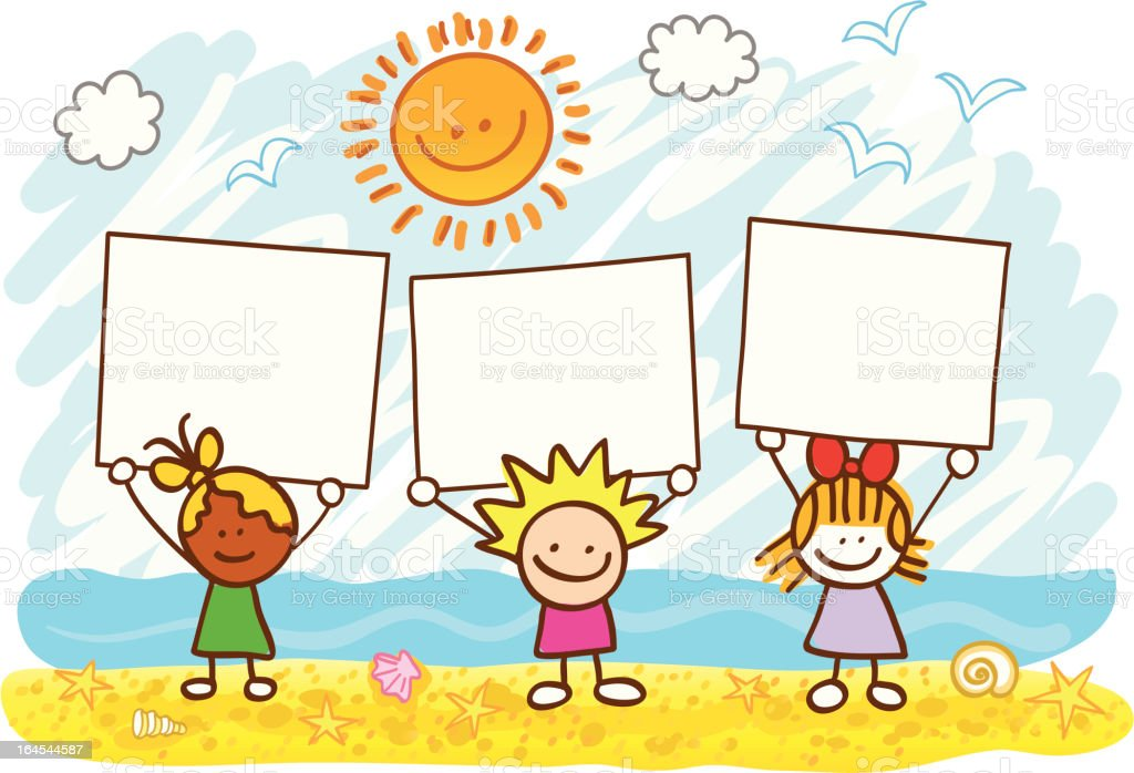 happy children holding banner at summer beach cartoon illustration royalty-free stock vector art