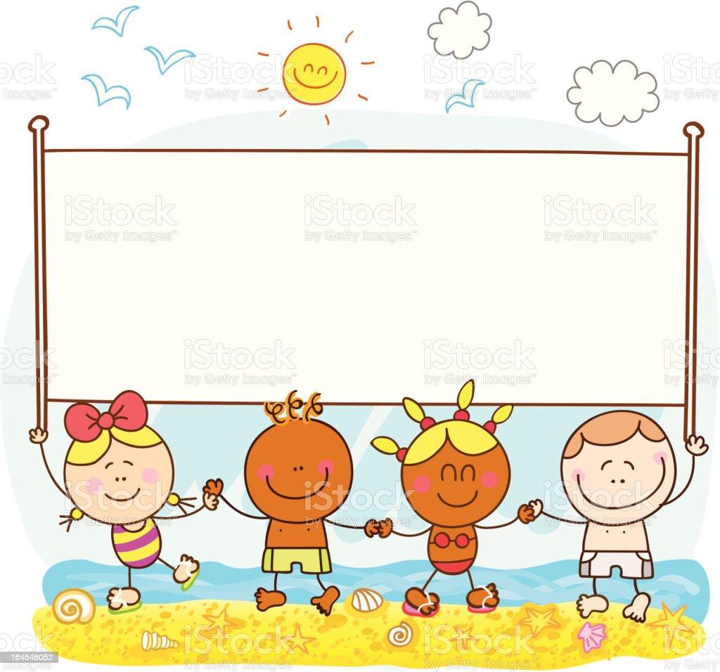 heureux enfants tenant bannière illustration de dessin animé de