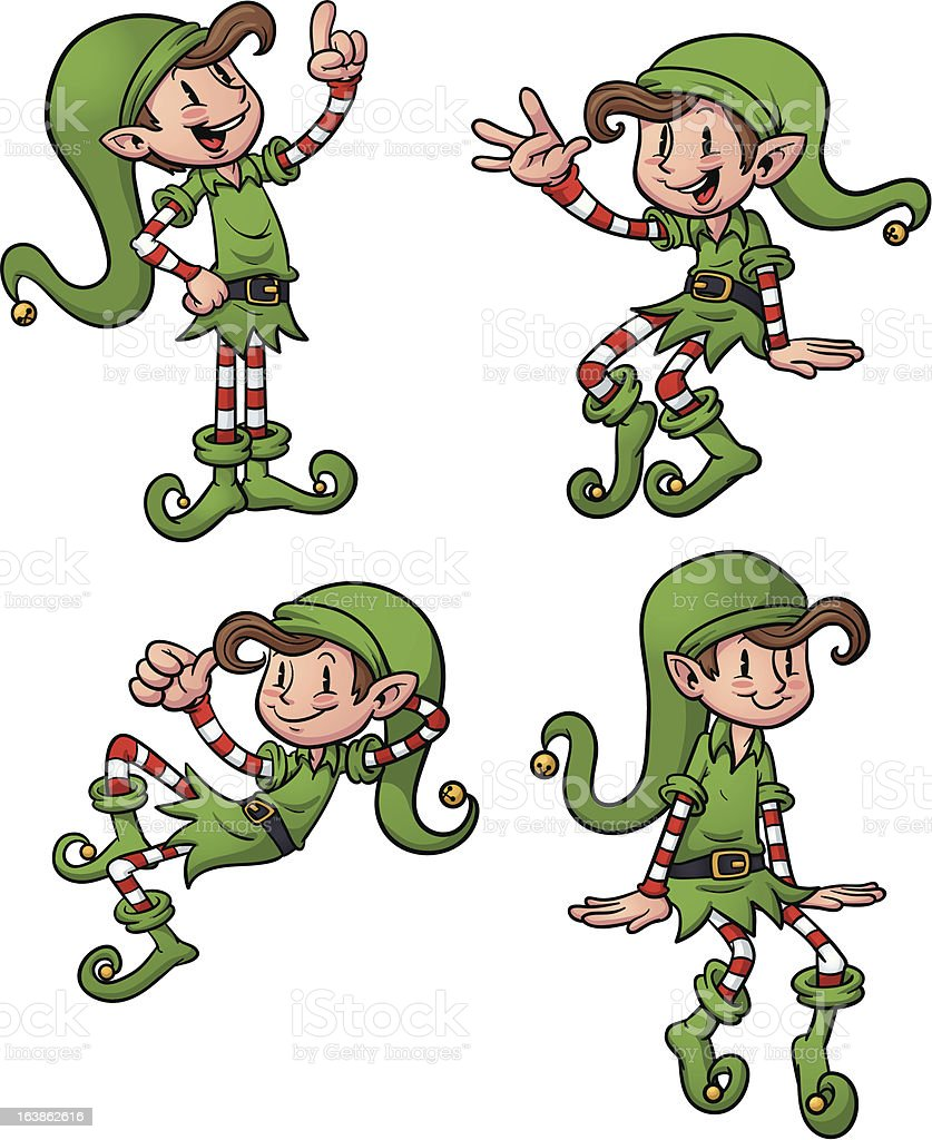 Happy Christmas elves royalty-free stock vector art