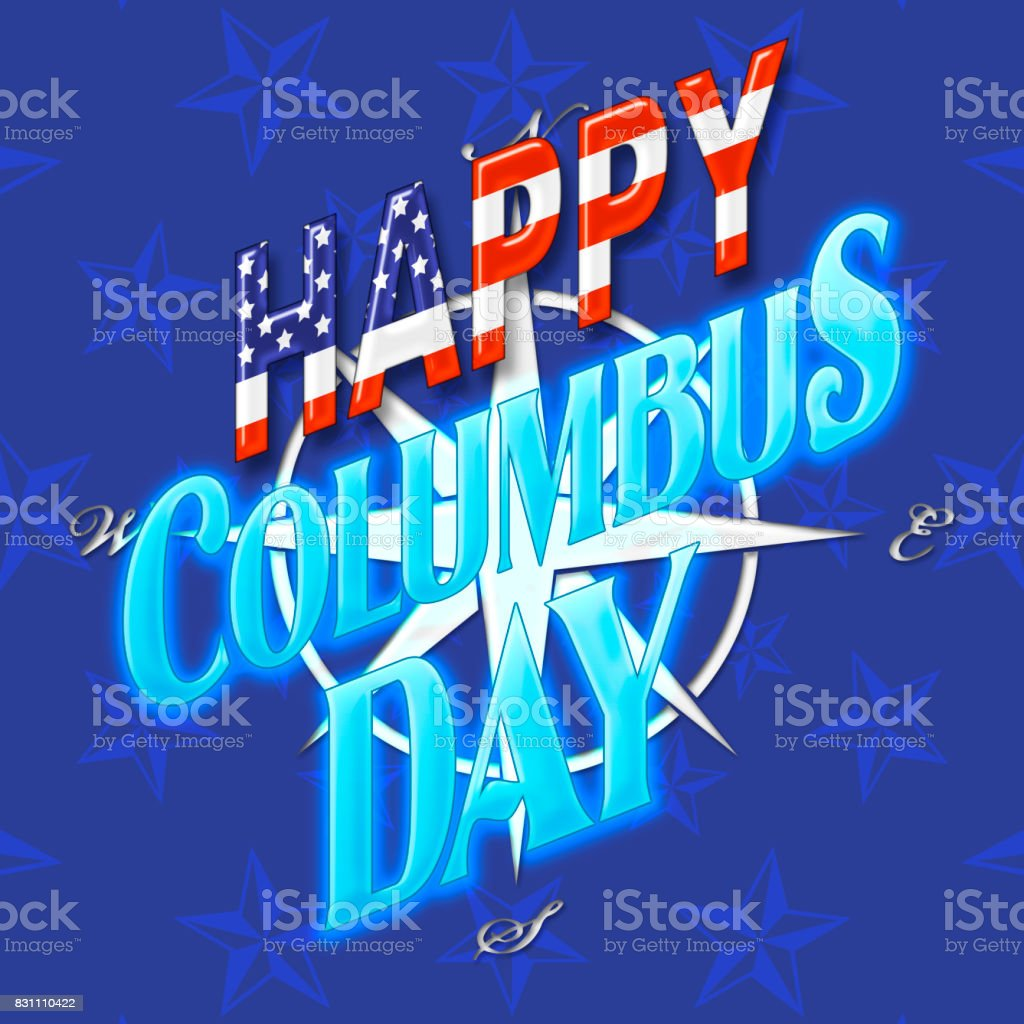 Happy Columbus Day, shiny bright blue text, background in colors of red, blue and white. vector art illustration