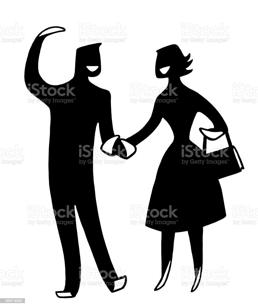 Happy Couple Holding Hands royalty-free stock vector art