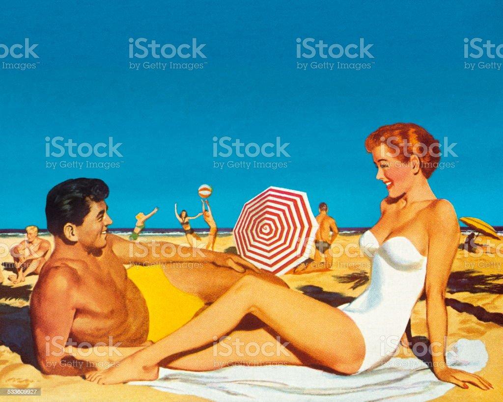 Happy Couple on a Beach vector art illustration