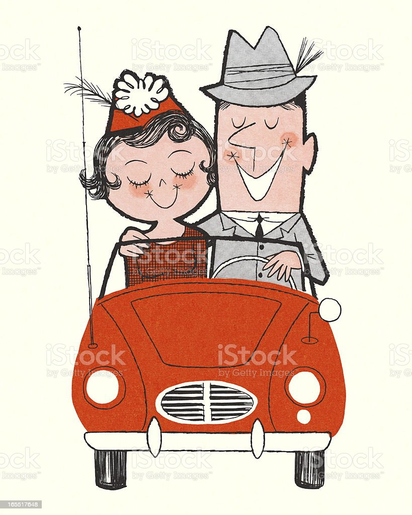 Happy Couple Riding in a Car royalty-free stock vector art