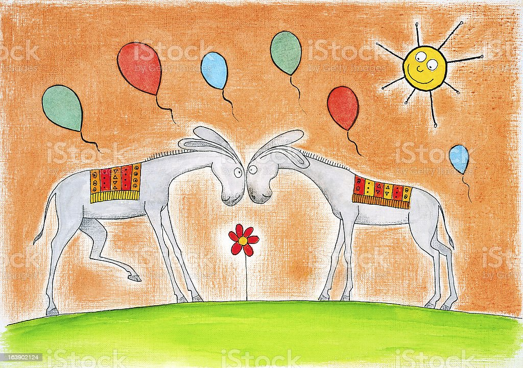 Happy donkeys with balloons, child's drawing, watercolor painting on paper royalty-free stock vector art