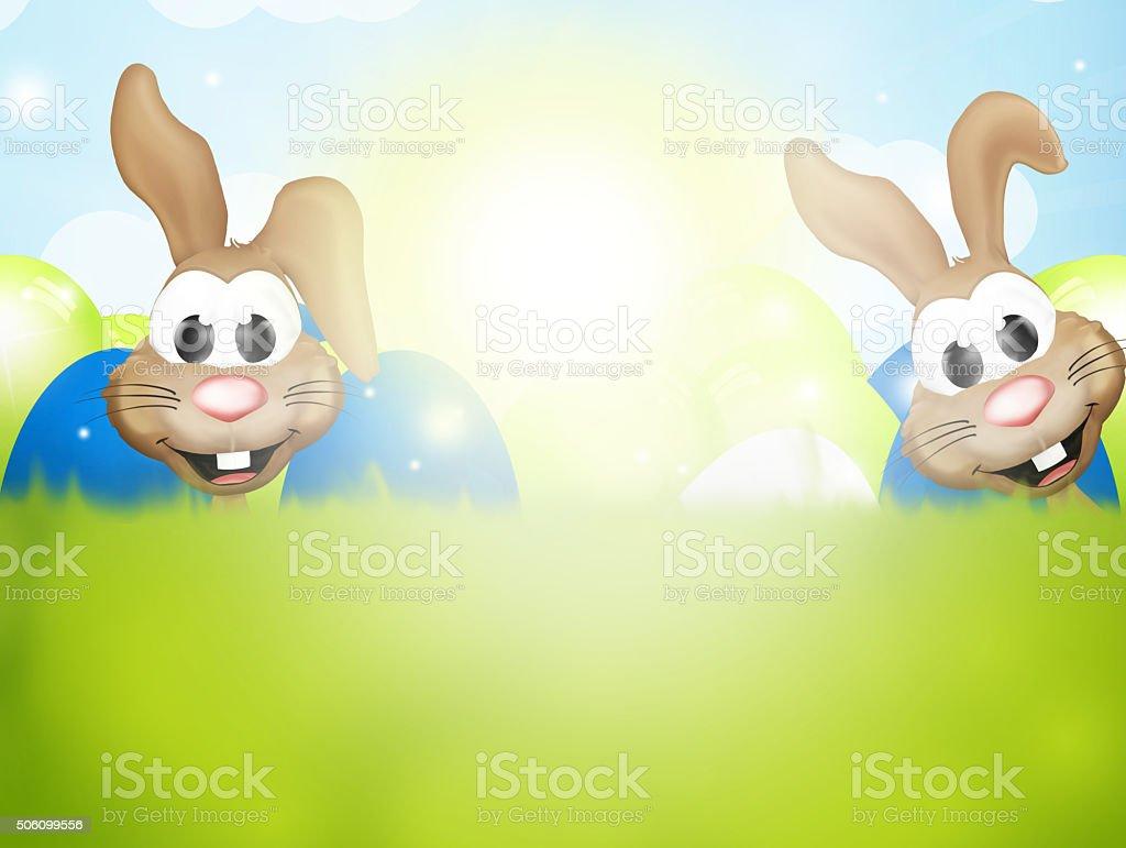 Happy easter bunnies big easter eggs vector art illustration