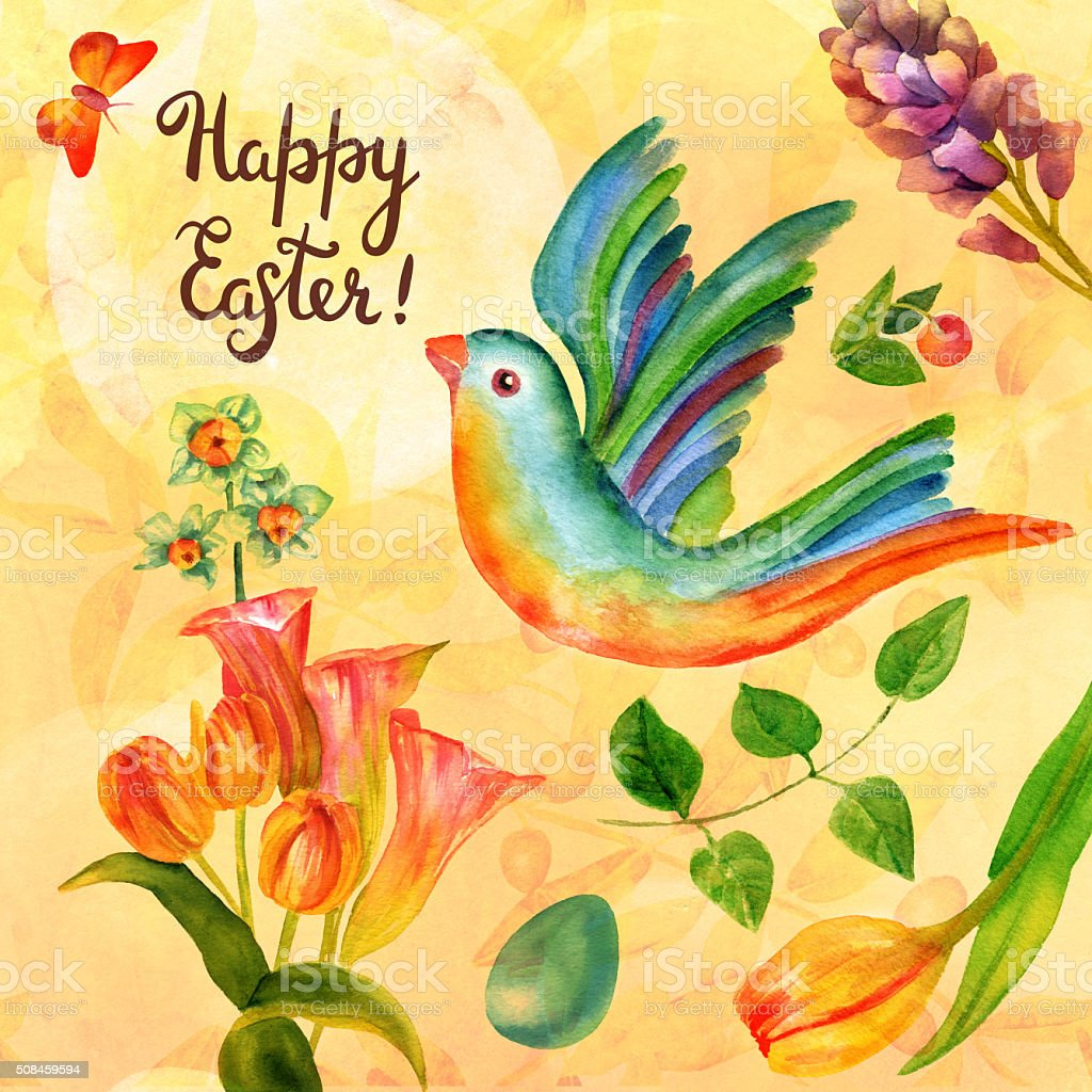 happy easter card design with watercolor bird butterfly and