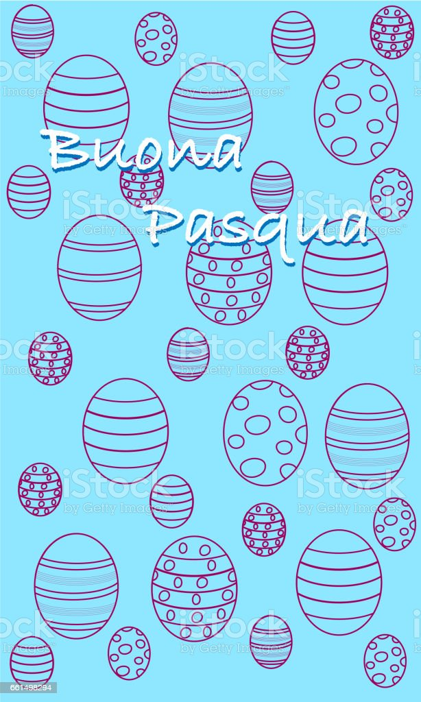 Happy Easter minimal greeting card, Italian version vector art illustration