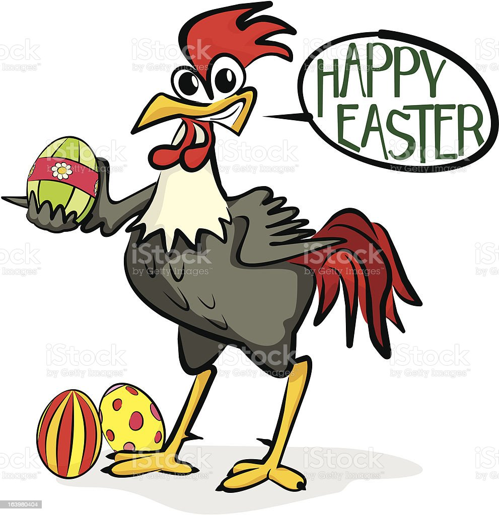 happy easter - rooster and painting eggs royalty-free stock vector art