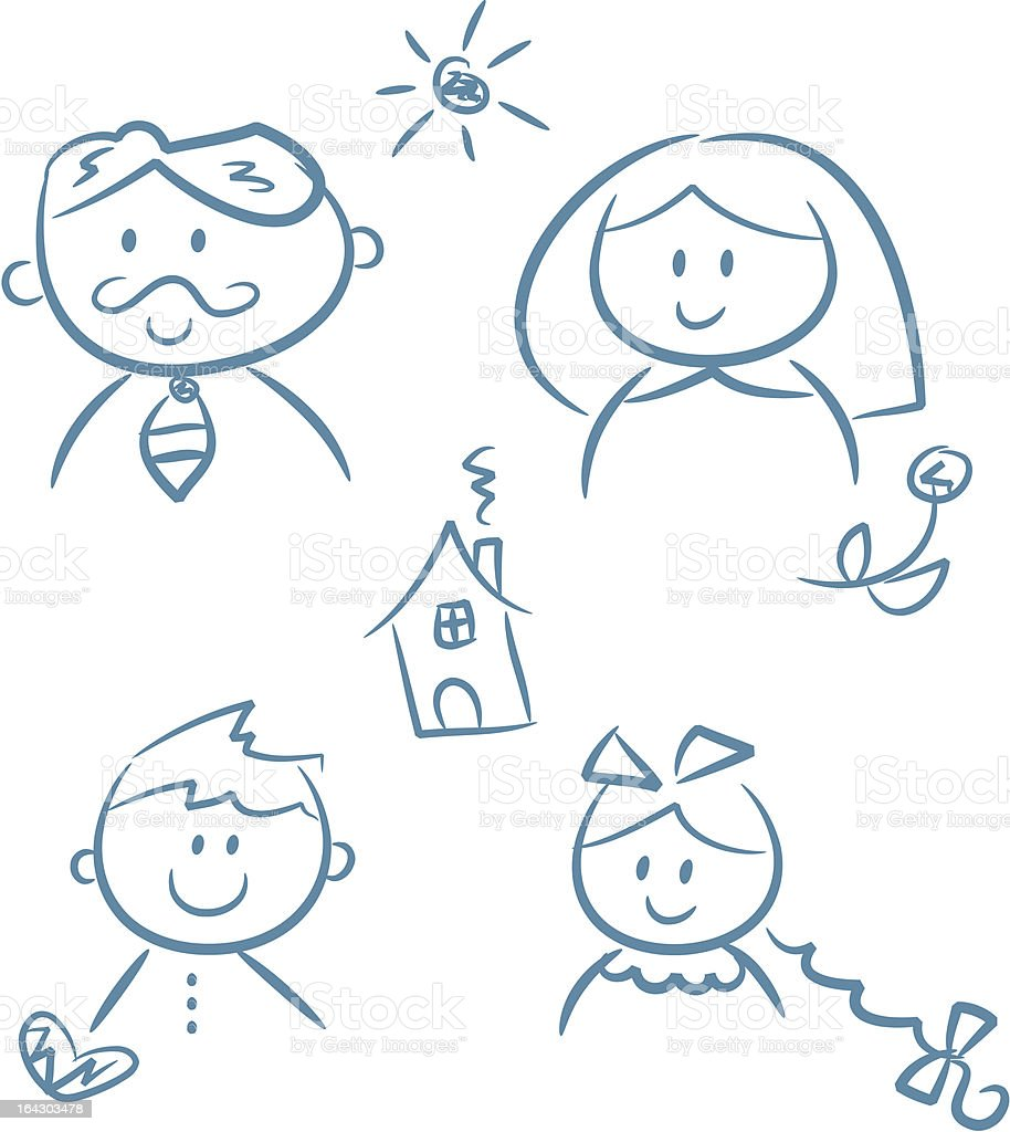 Happy Family Doodles royalty-free stock vector art