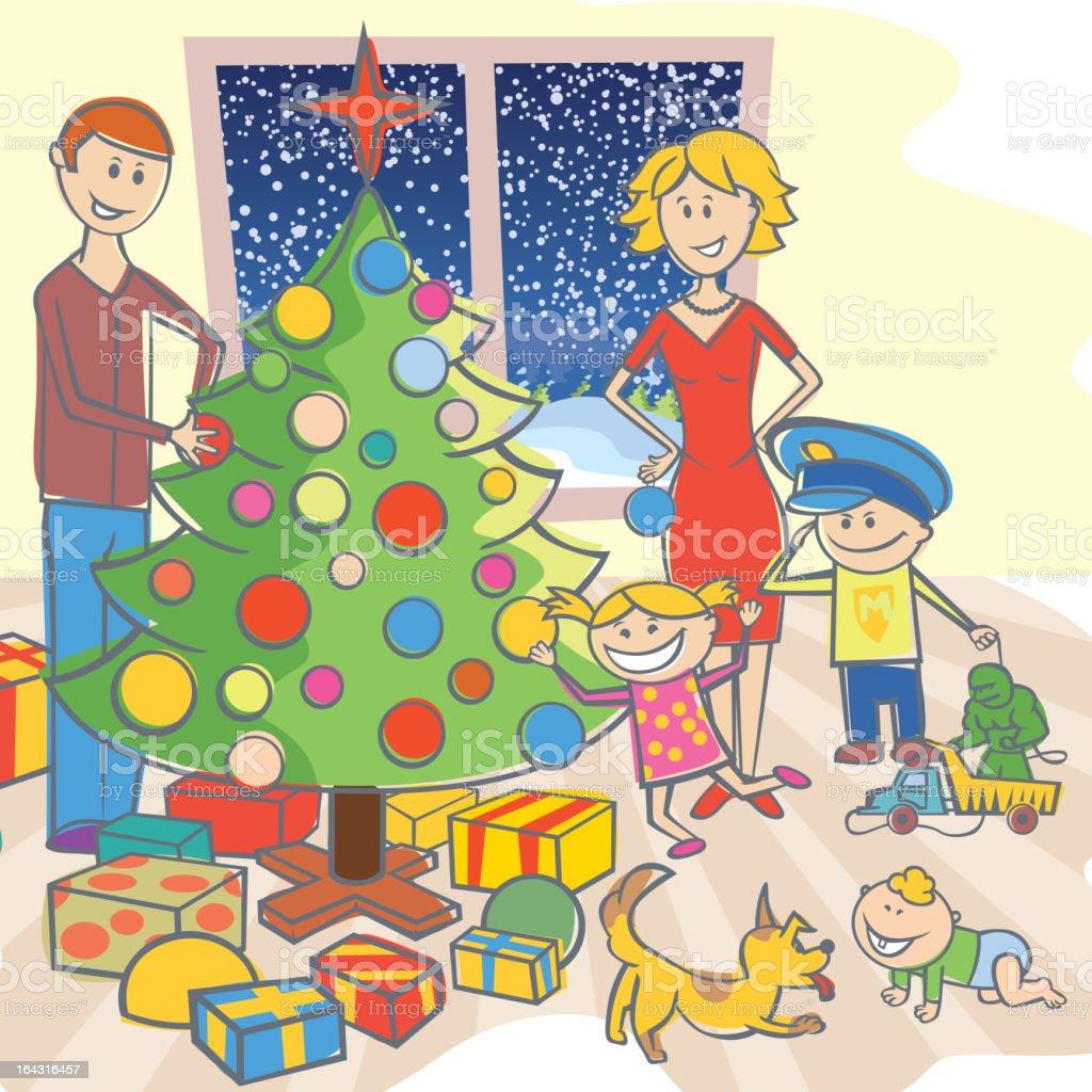 happy family dressing up the christmas tree royalty-free stock vector art
