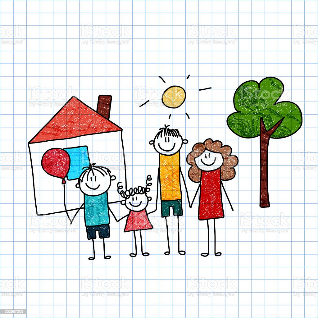 Happy family. Mother, father and children. vector art illustration