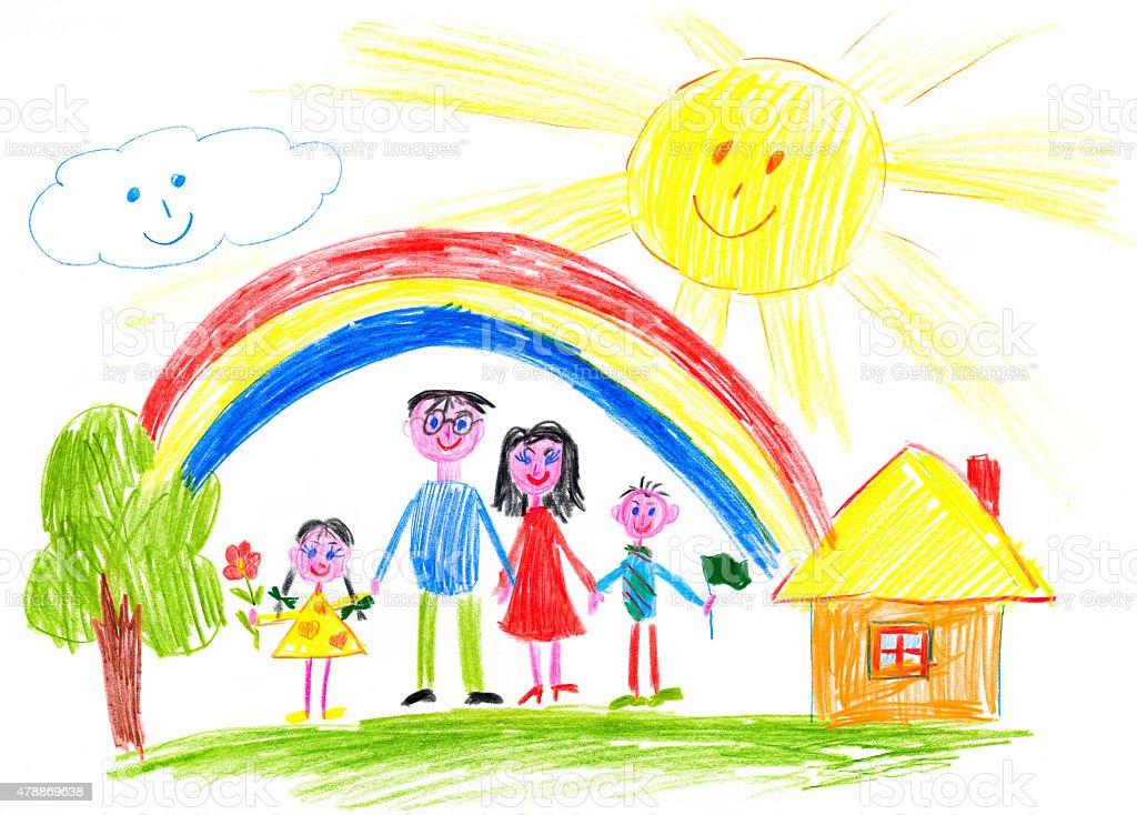 happy family on meadow near home vector art illustration
