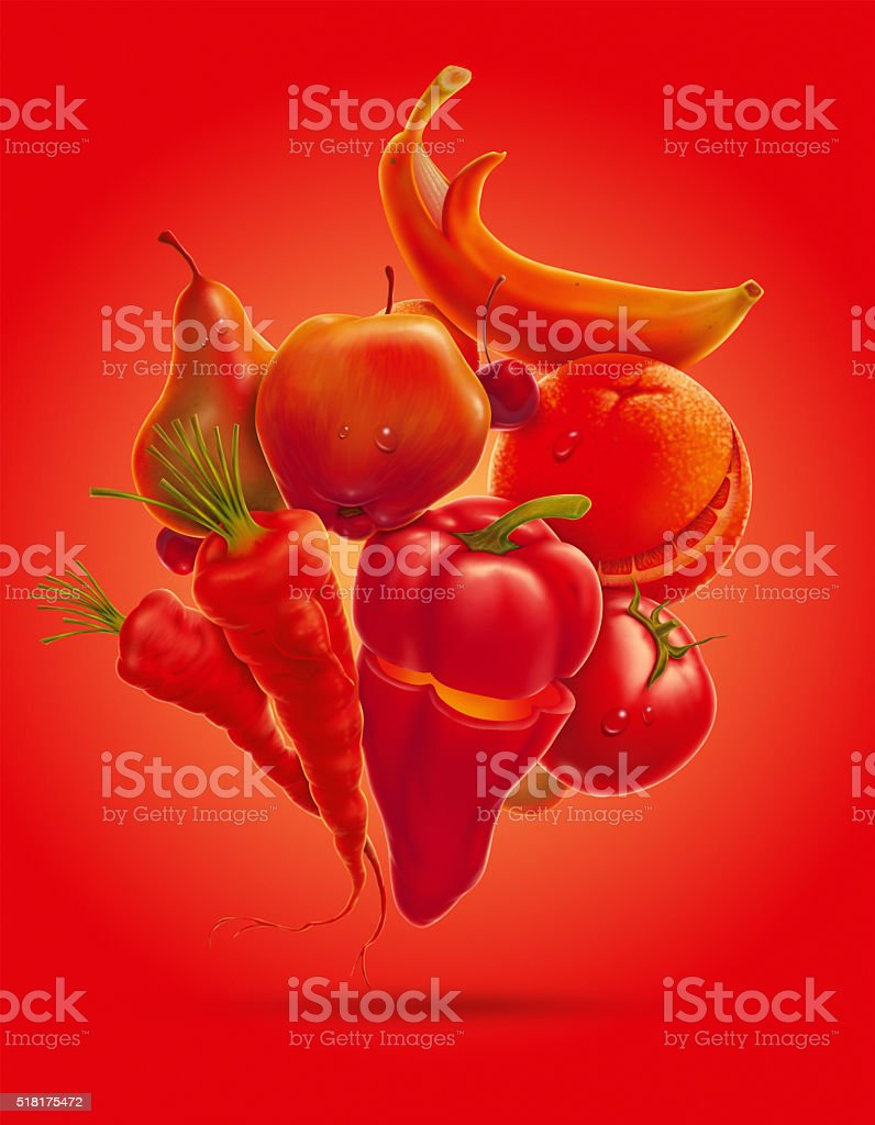 happy fruits vegetables vector art illustration
