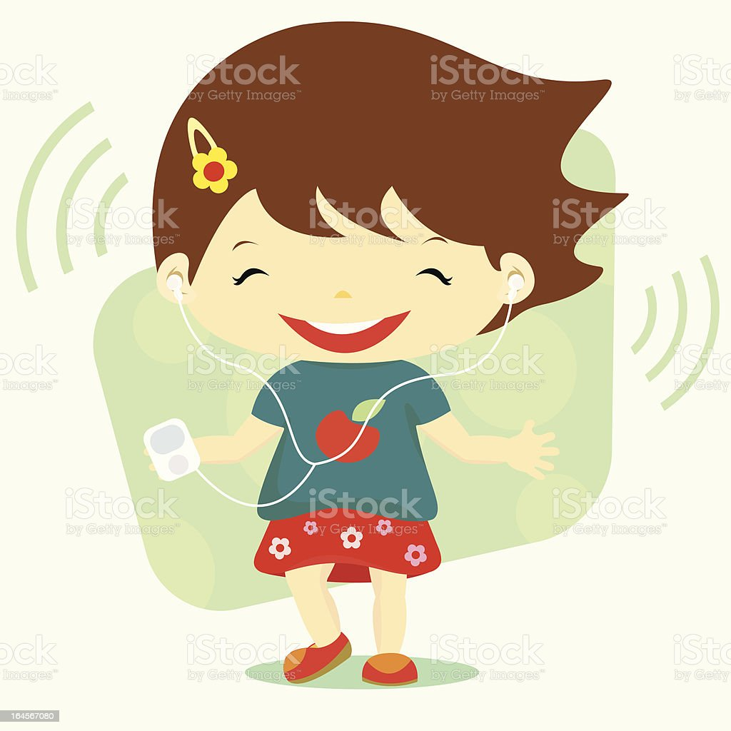 Happy girl listening to the music and dancing royalty-free stock vector art