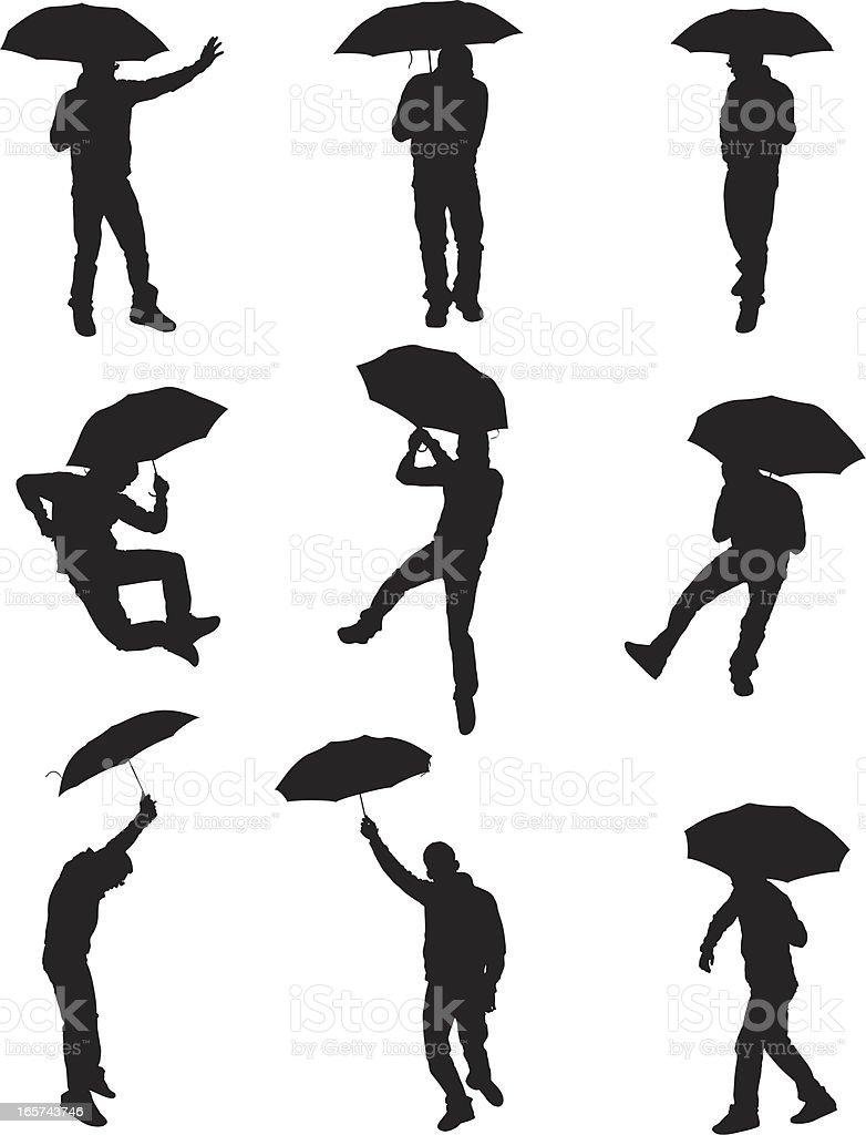 Happy go lucky man with an umbrella royalty-free stock vector art