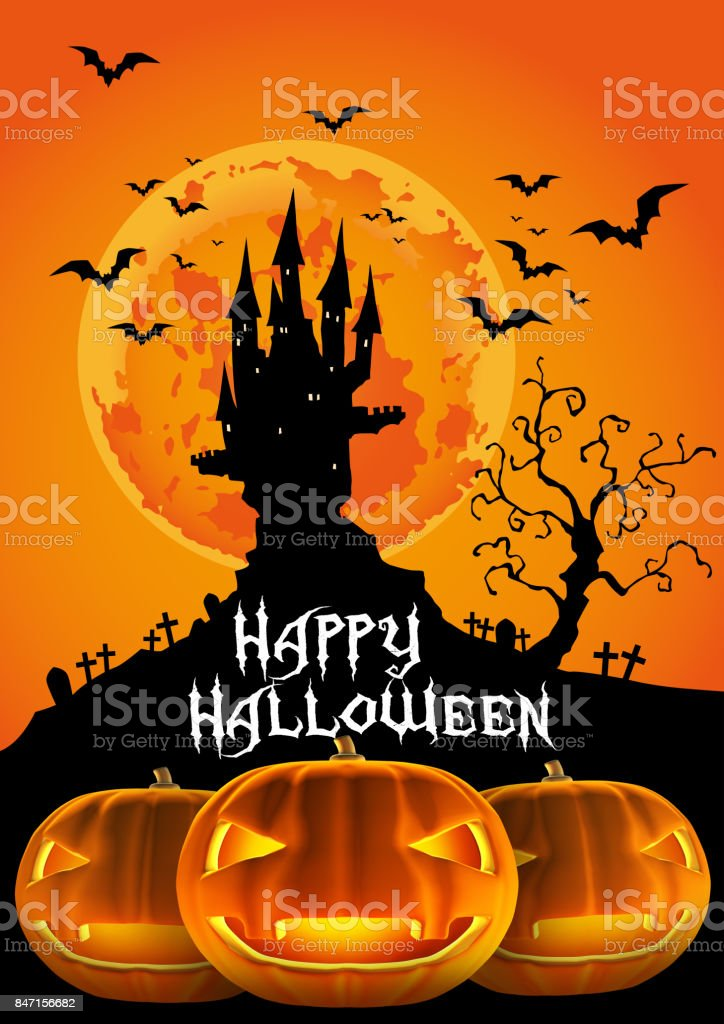 Happy Halloween, Haunted Castle and Jack O Lantern of 3D illustration vector art illustration