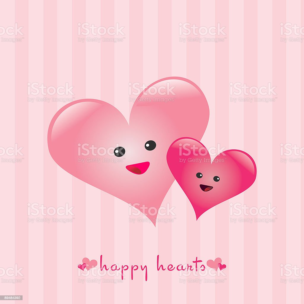 Happy Hearts vector art illustration