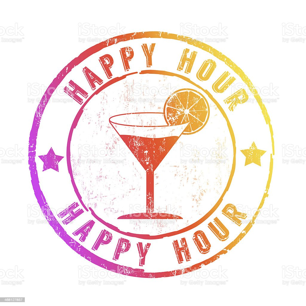 Happy Hour stamp vector art illustration