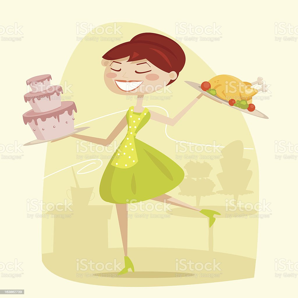 Happy housewife royalty-free stock vector art