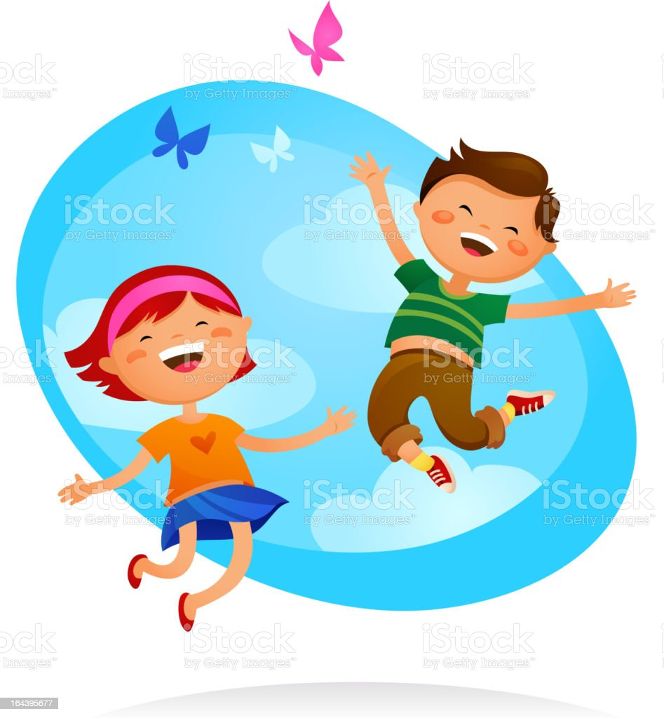 Happy kids royalty-free stock vector art