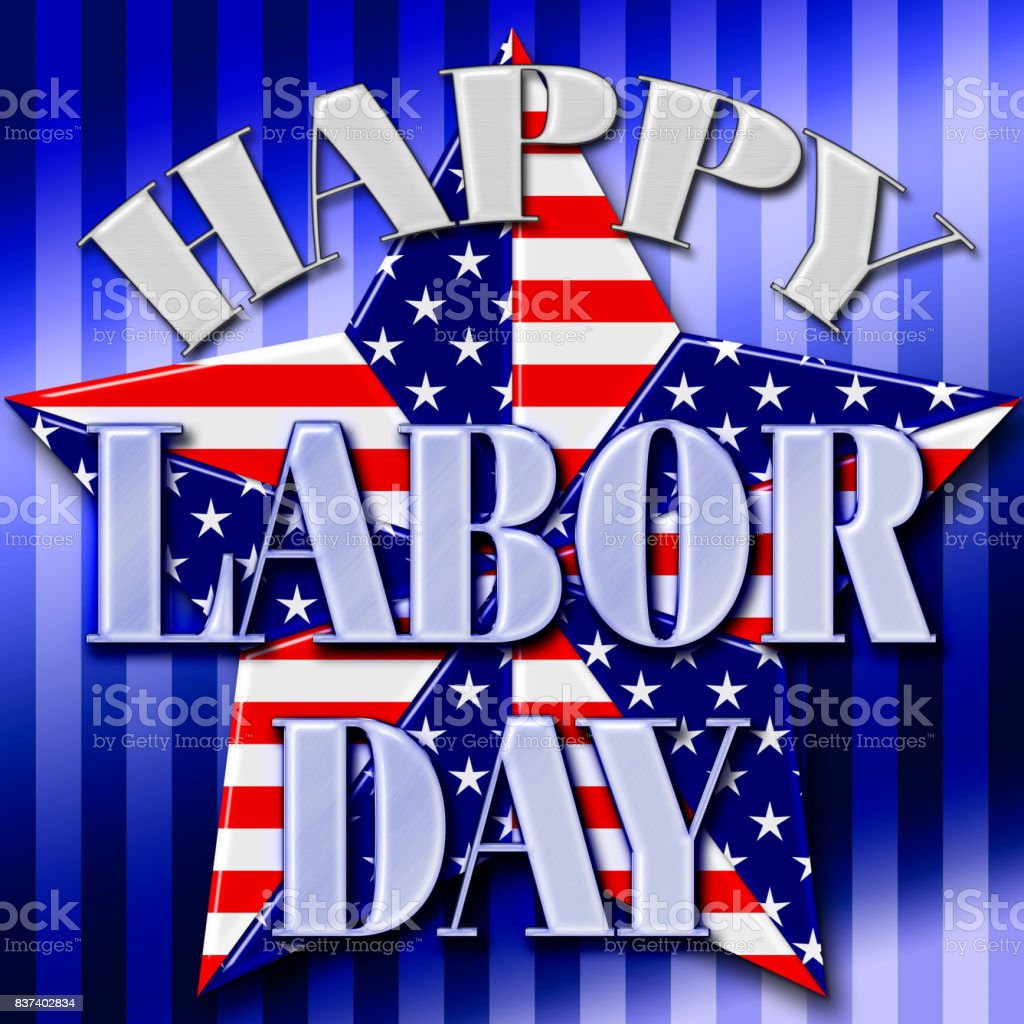 Happy Labor Day, 3D, Big American Star, Blue gradient striped background, Bright colors, Bright shiny text. vector art illustration