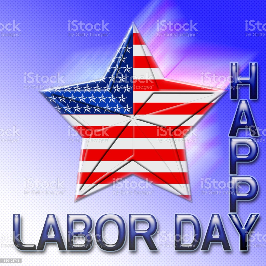 Happy Labor Day, 3D, big falling star covered with the American flag, blue to white gradient background. vector art illustration