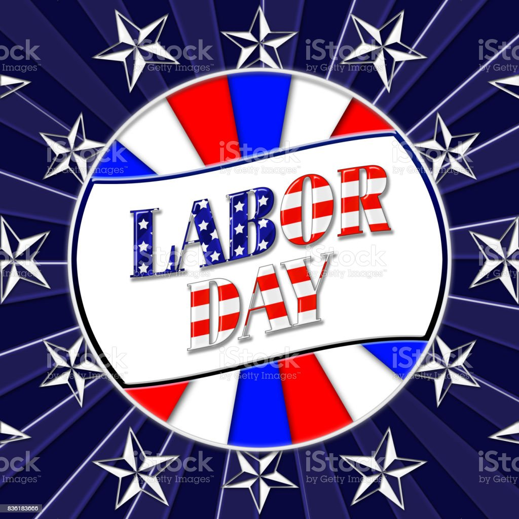 Happy Labor Day, 3D, bright shiny text in colors red, white and blue, white stars on a dark blue background. vector art illustration