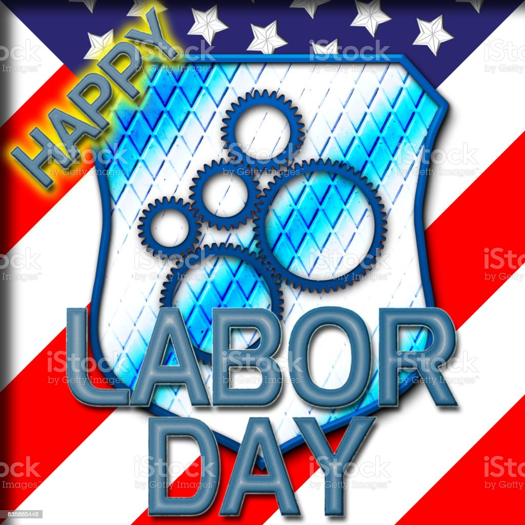 Happy Labor Day, American flag in the background, shield with blue gears. vector art illustration