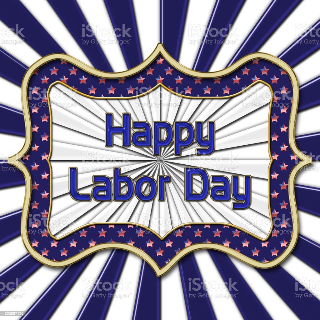 Happy Labor Day, Bright shiny blue text, white background. vector art illustration
