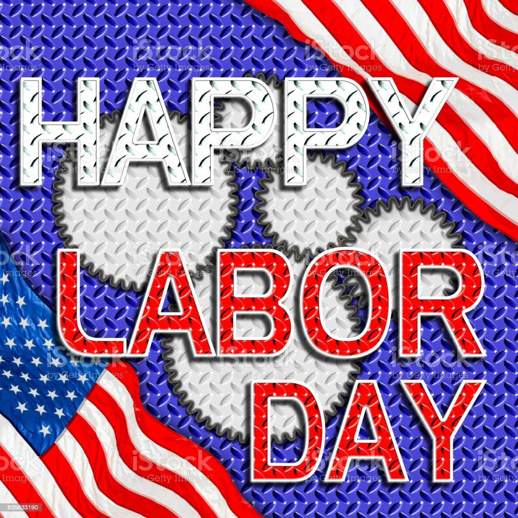 Happy Labor Day, white and red Heavy Metal Text in front of a heavy diamond steel background. vector art illustration