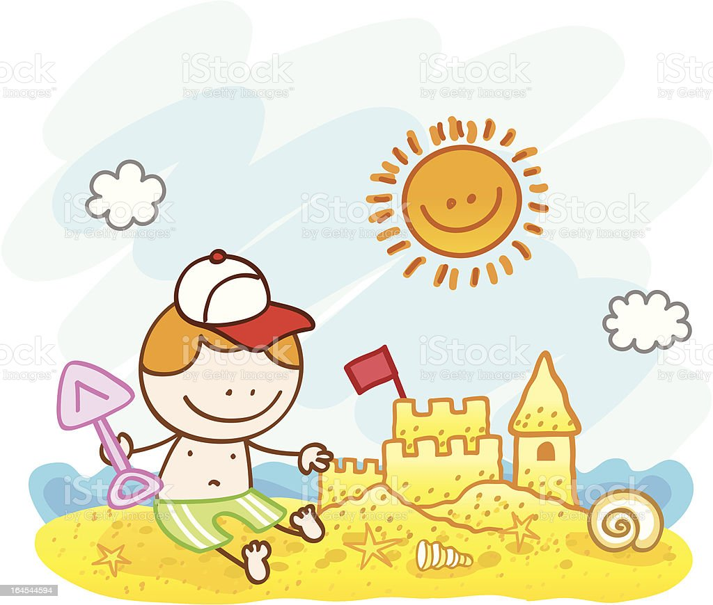happy little cute boy and sand castle beach cartoon illustration royalty-free stock vector art