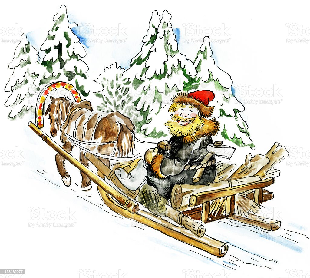 Happy man in a horse sleigh carrying firewood royalty-free stock vector art