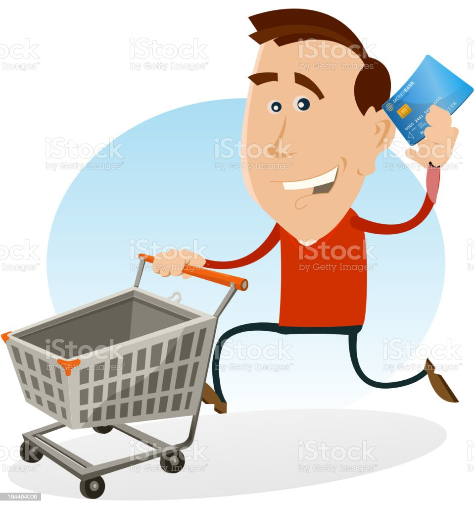 Happy Man Shopping With Credit Card royalty-free stock vector art