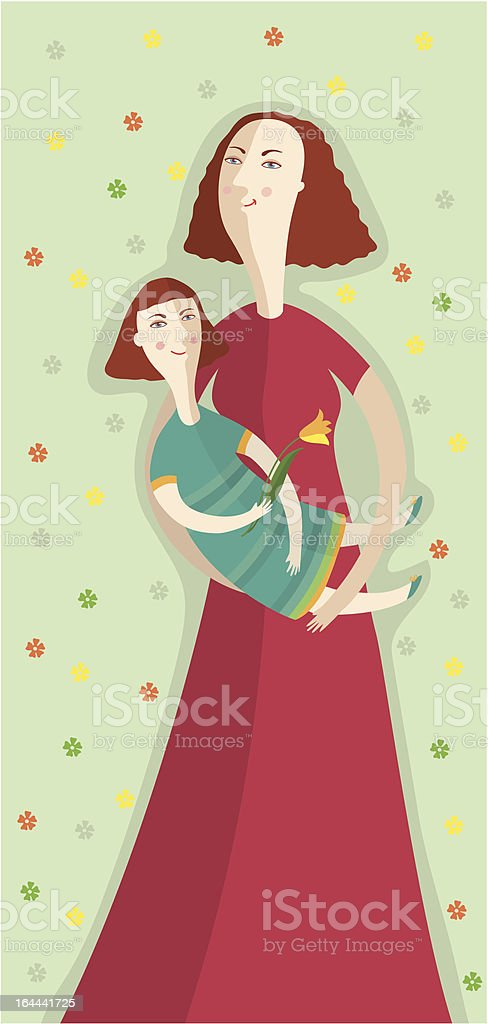 Happy mother and little daughter with a flower royalty-free stock vector art