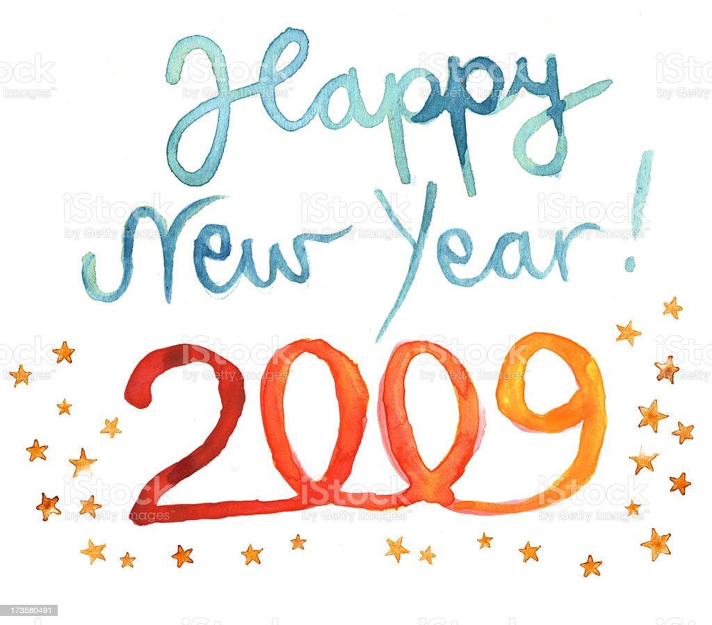 Happy New Year 2009 written in watercolor vector art illustration