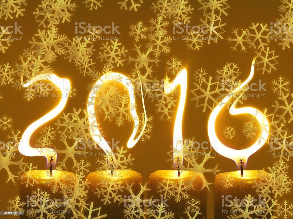 Happy new year 2016 - snowflakes vector art illustration