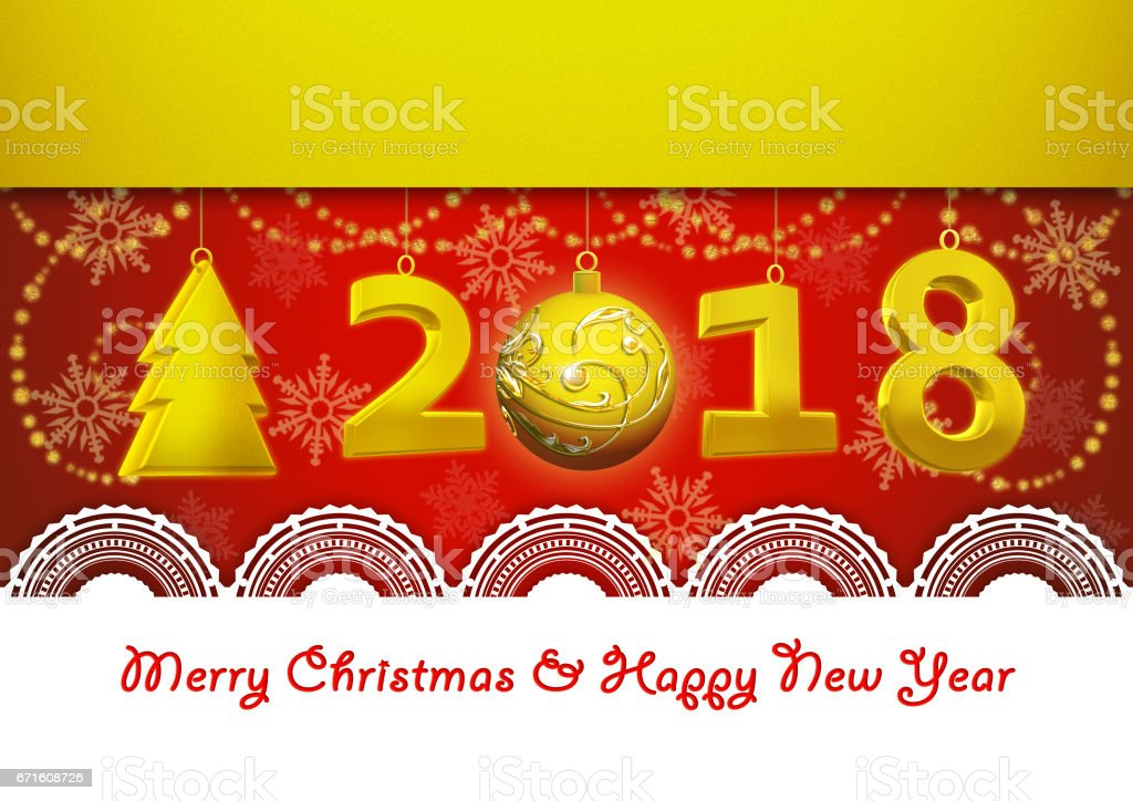 Happy New Year 2018 And Merry Christmas Greetings Card In Yellow And Red Colo...