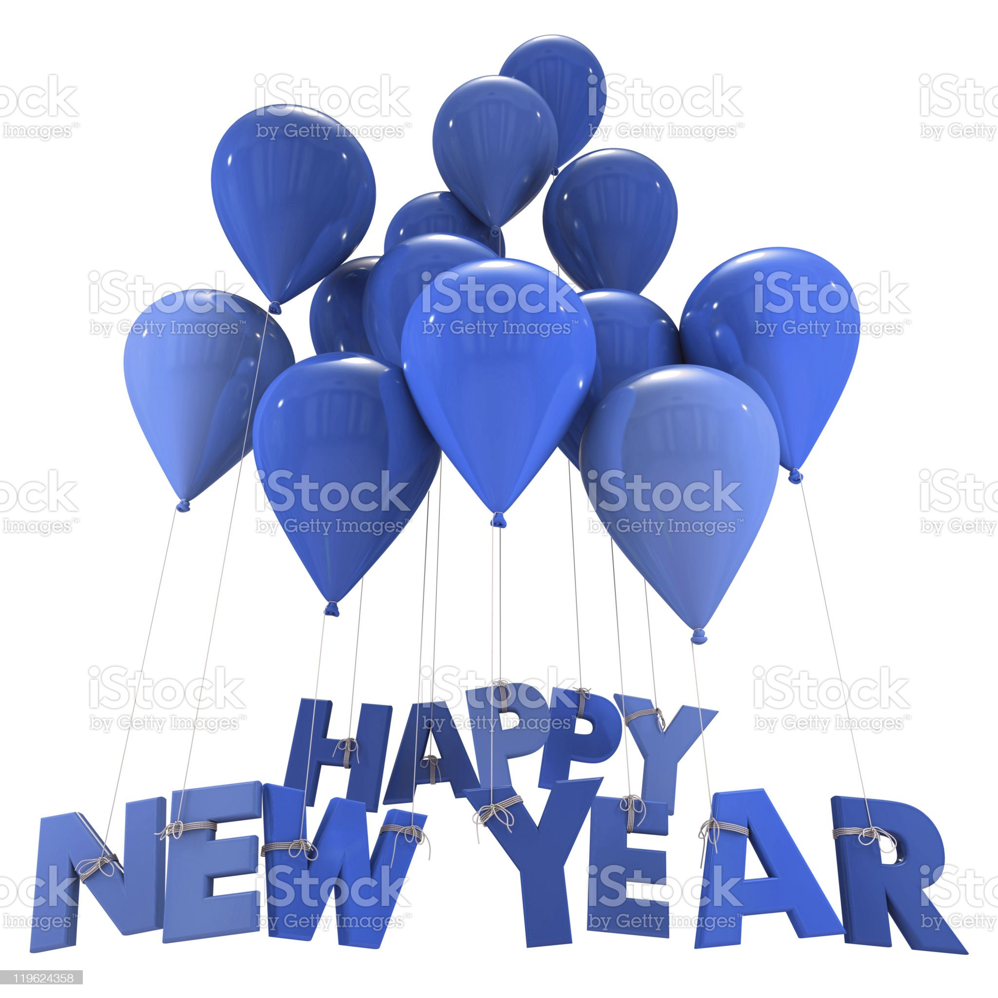 Happy New Year in blue royalty-free stock vector art