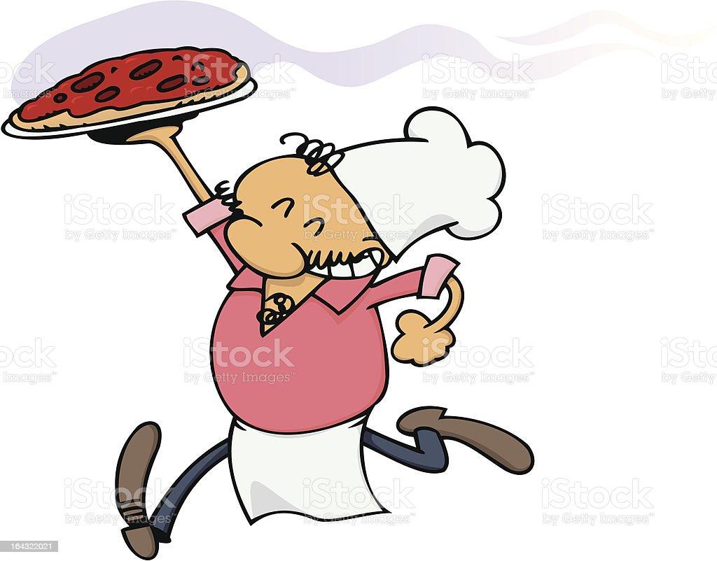 Happy pizza chef royalty-free stock vector art