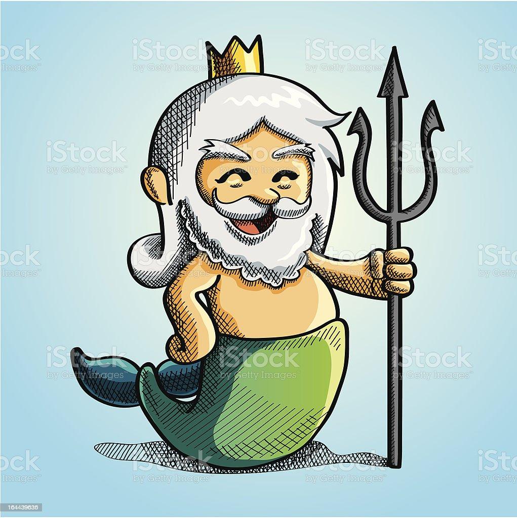 Happy Poseidon vector art illustration