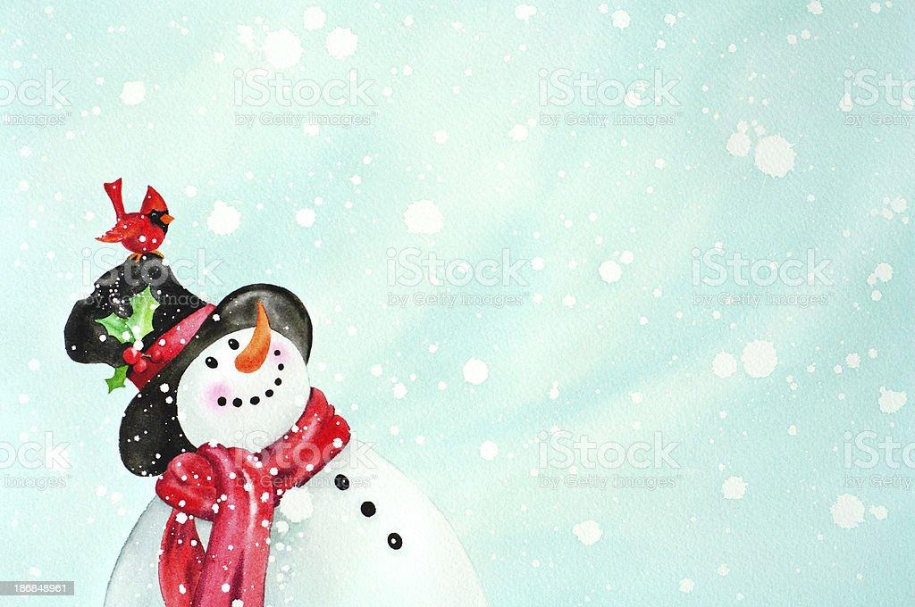 Happy Snowman And Red Bird Friend vector art illustration