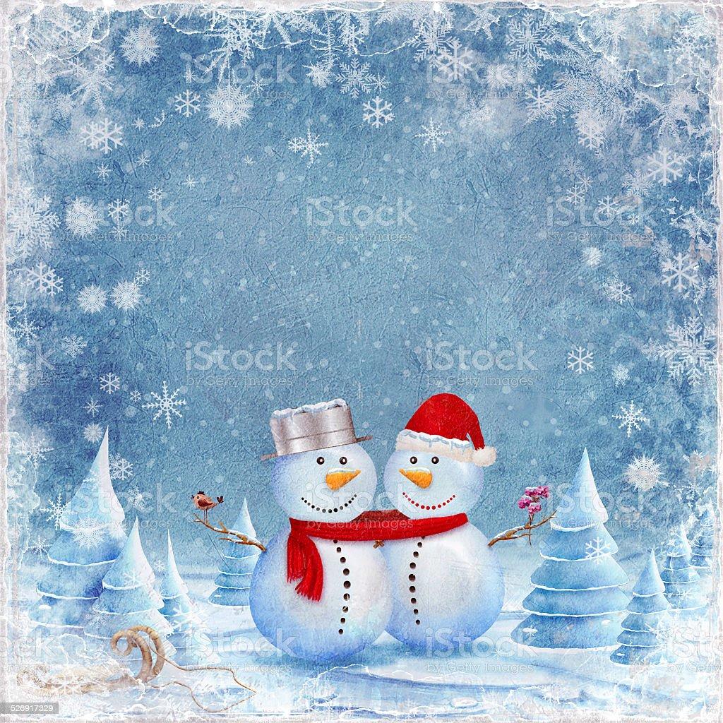 Happy snowman friends vector art illustration