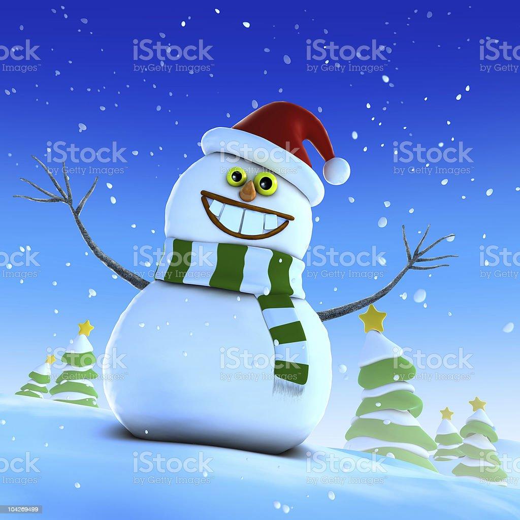 happy snowman vector art illustration
