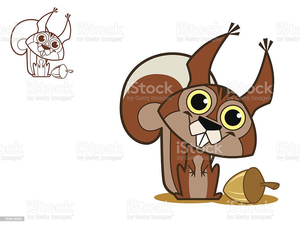 Écureuil heureux stock vecteur libres de droits libre de droits