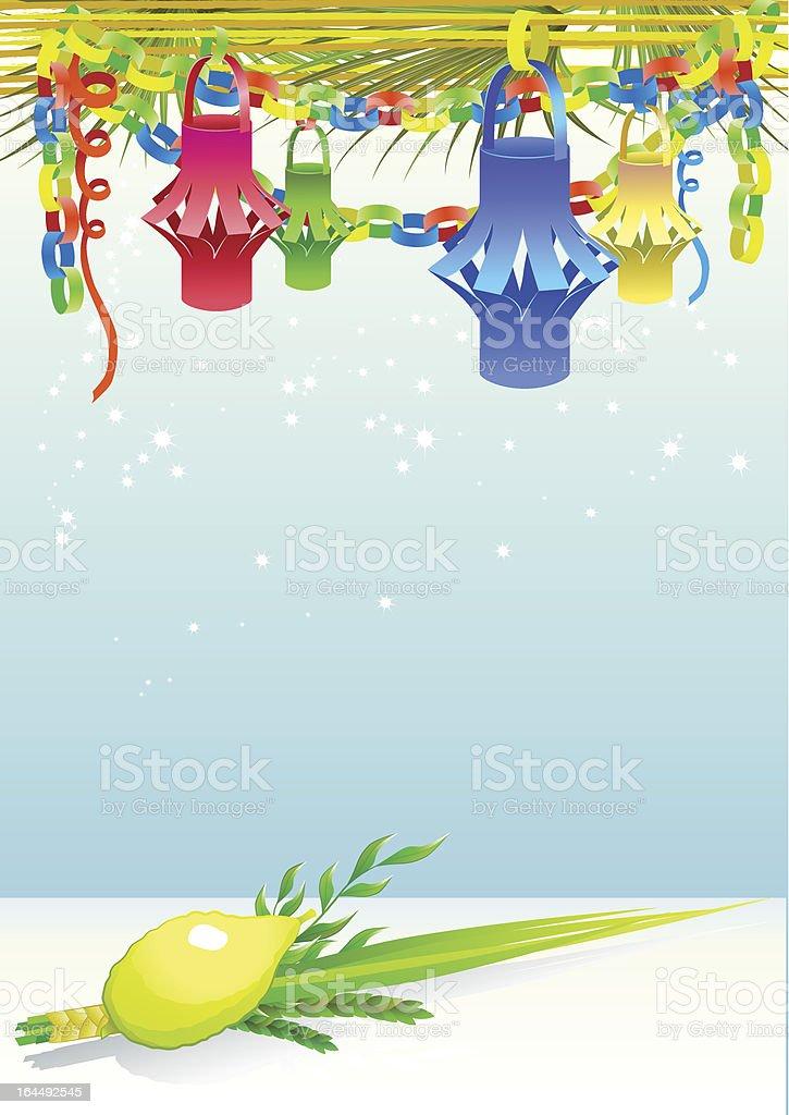 Happy Sukkot with decorative elements vector art illustration