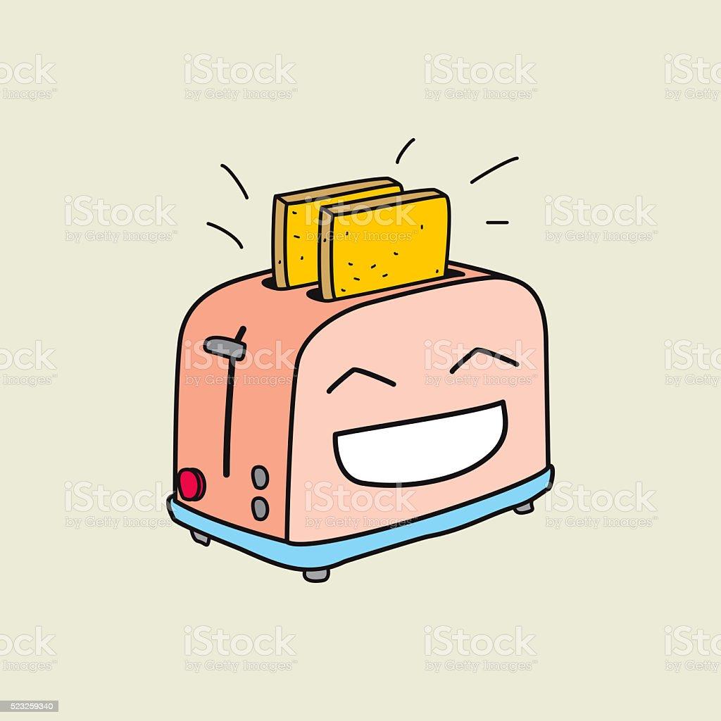 Happy toaster is ready for breakfast vector art illustration