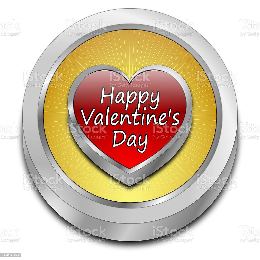Happy Valentine's Day button vector art illustration