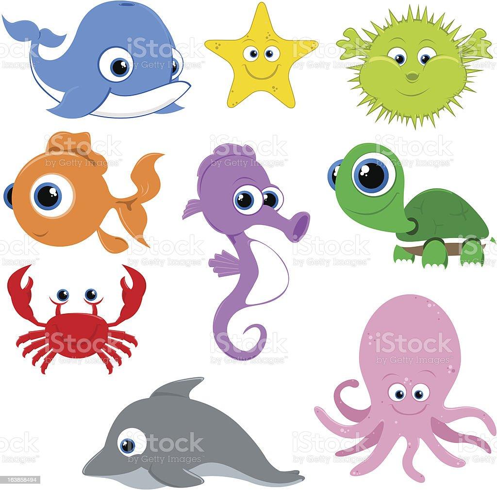 feliz de dibujos animados de vector de peces illustracion sea creatures clip art black and white sea creatures clipart